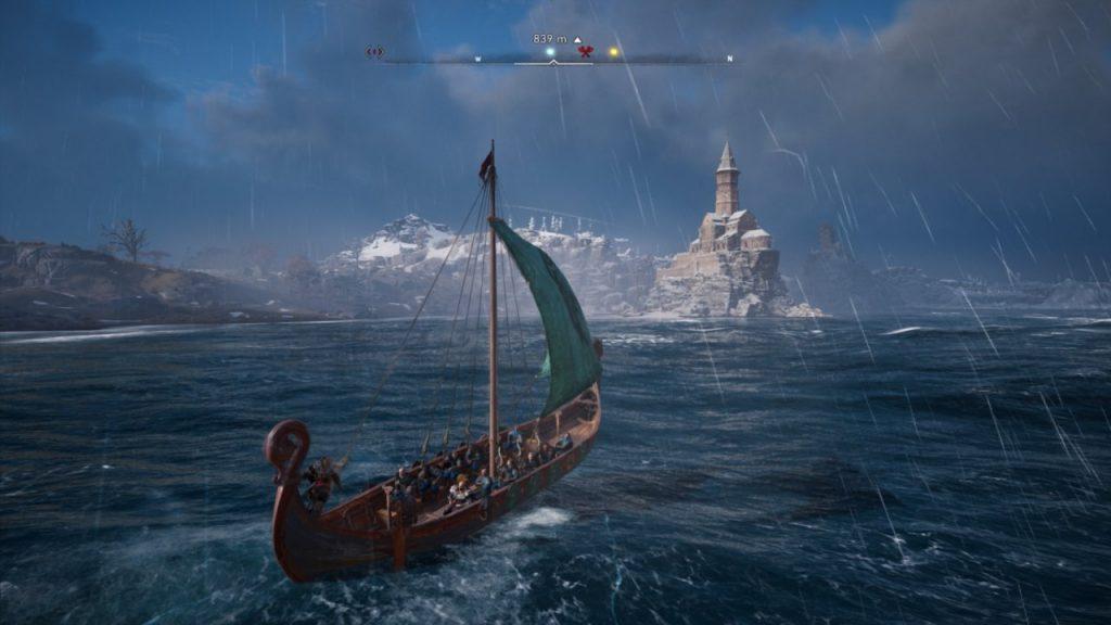 Assassin's Creed Valhalla longbot sailing towards monastery