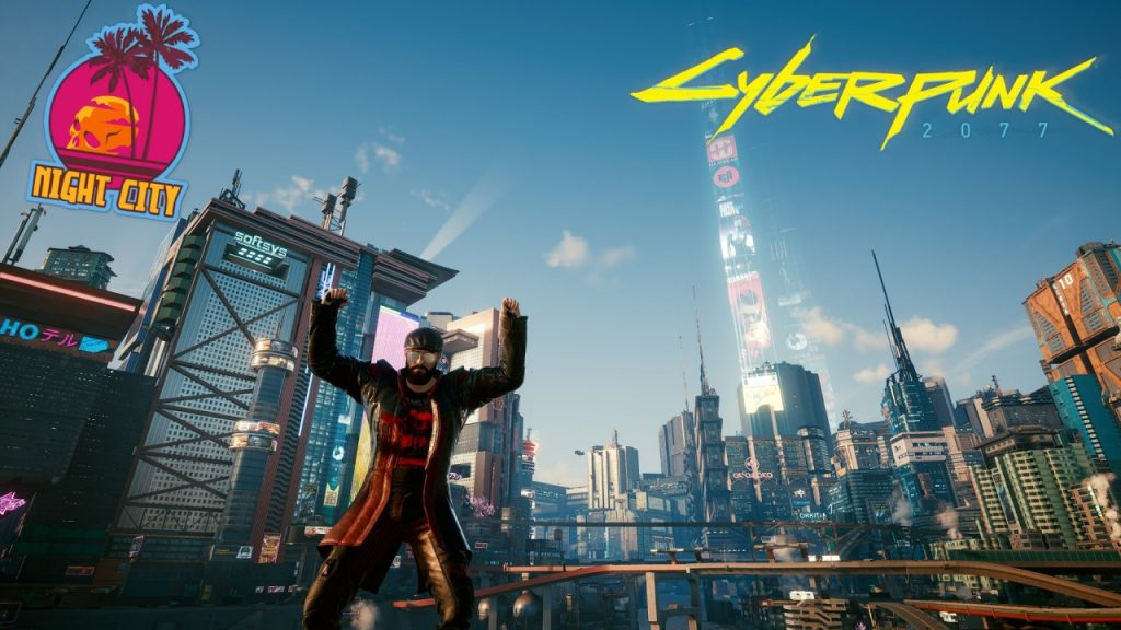 Cyberpunk 2077 V in front of Night City