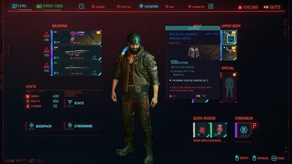 Cyberpunk 2077 Inventory Screen